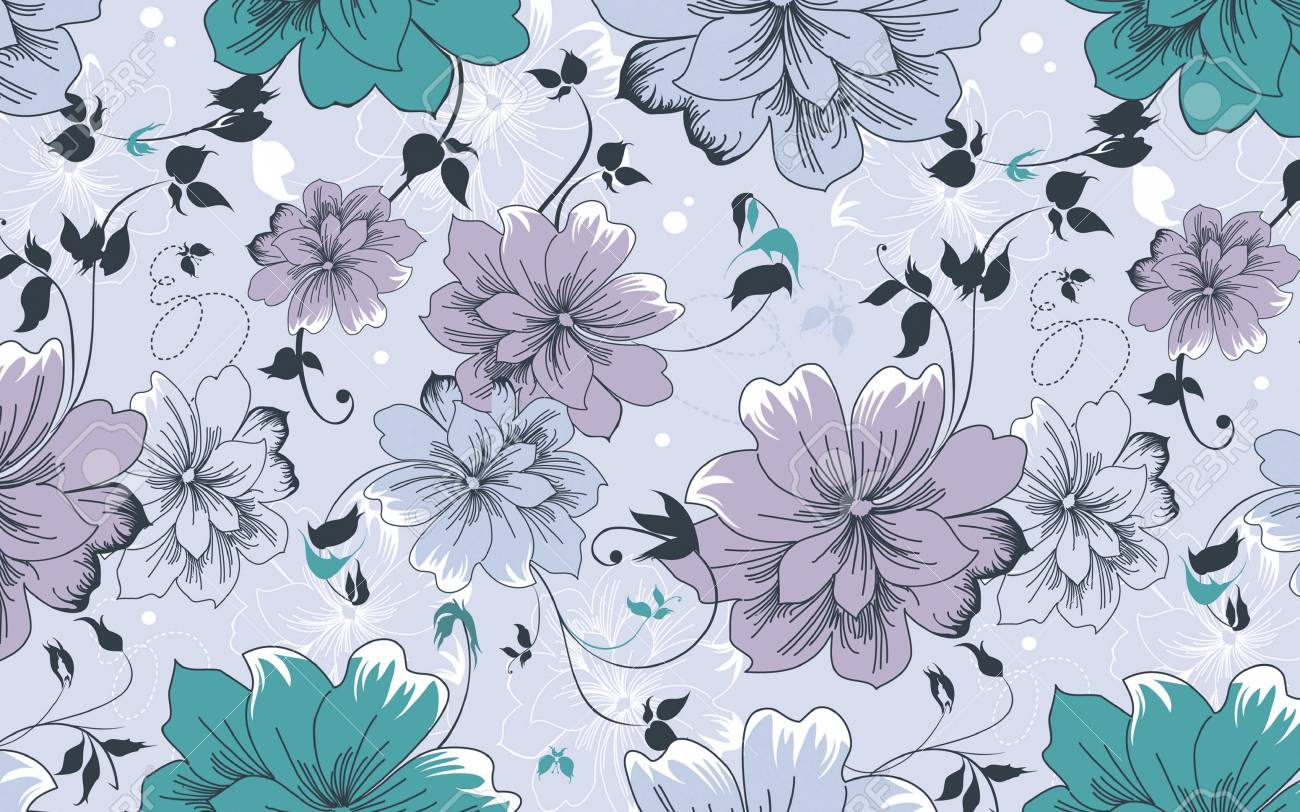 Floral Vintage Wallpaper Blue Theme Stock Photo Picture And
