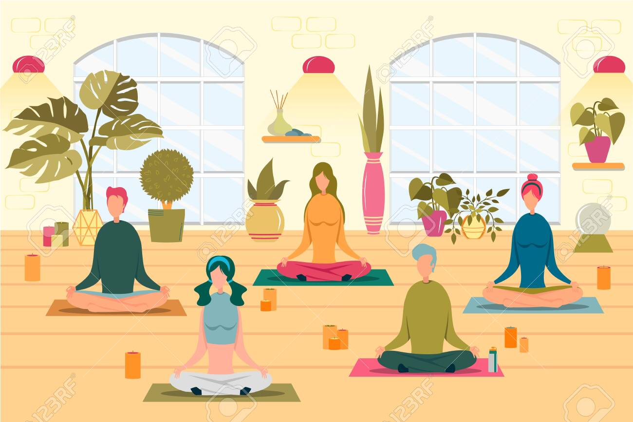 People At Yoga Class Flat Vector Illustration Boys And Girls Royalty Free Cliparts Vectors And Stock Illustration Image 139253843