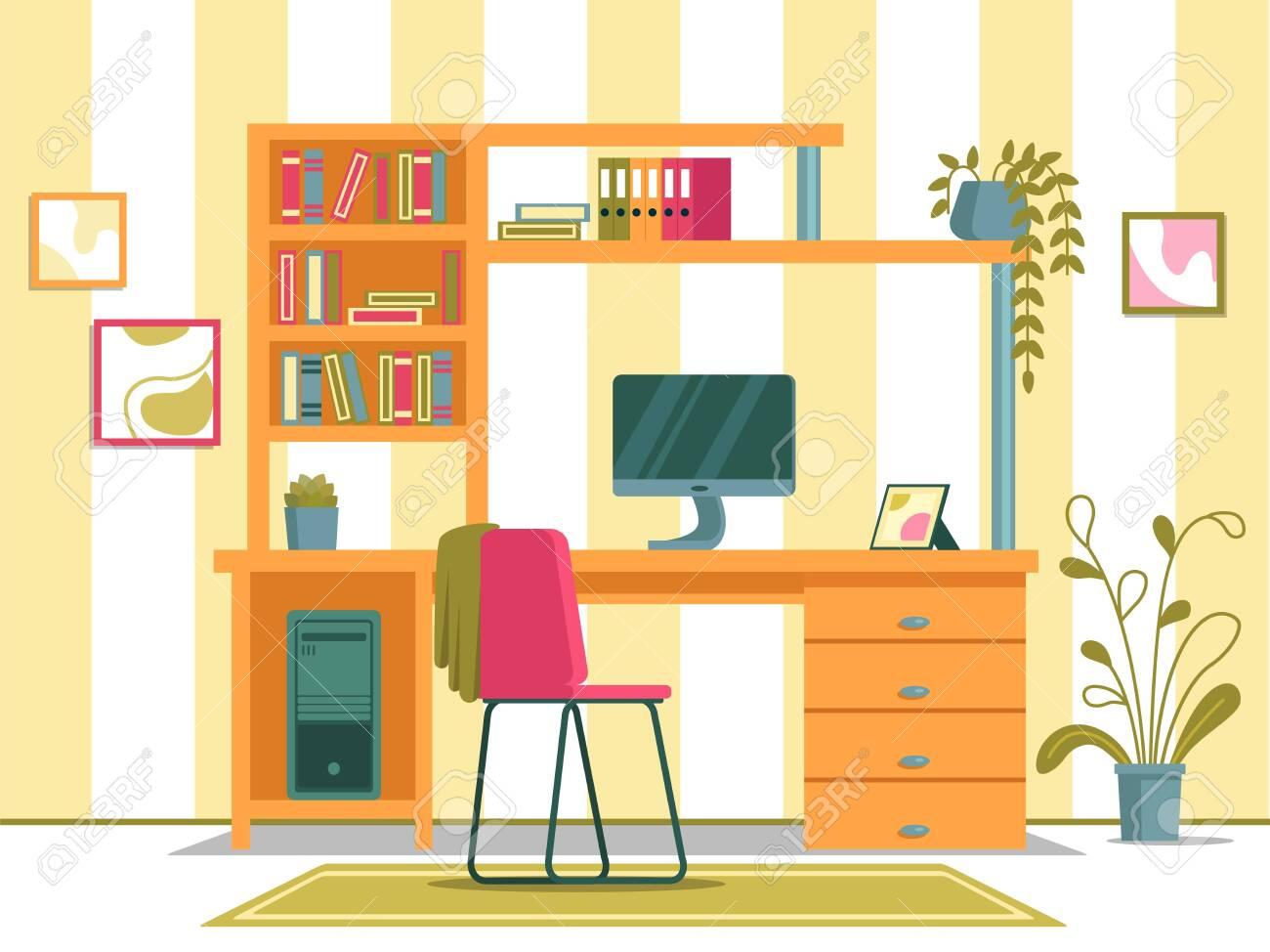 Working Spot For Studying With Pc In Kids Room Ilustraciones Vectoriales Clip Art Vectorizado Libre De Derechos Image 142659638