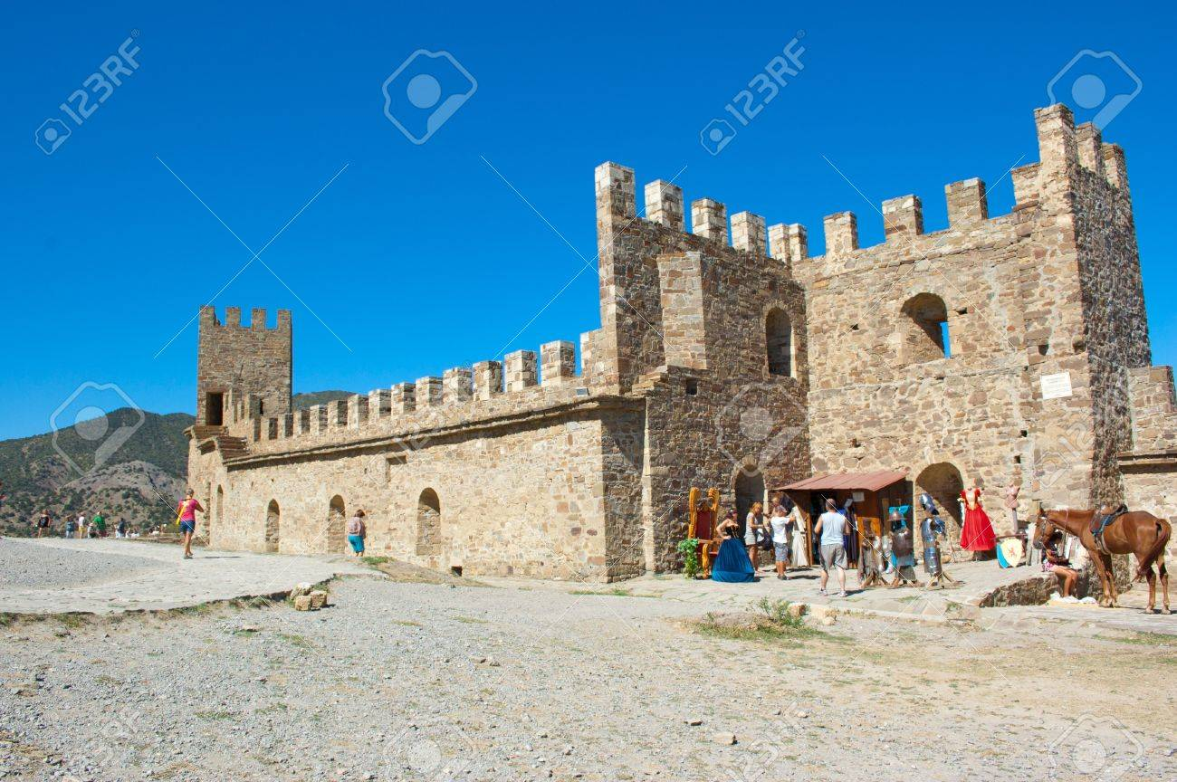 Ukraine, the Crimea, the Pike perch - on September 10 2012 - the Sudaksky fortress and the tourists walking in its territory Stock Photo - 16743396