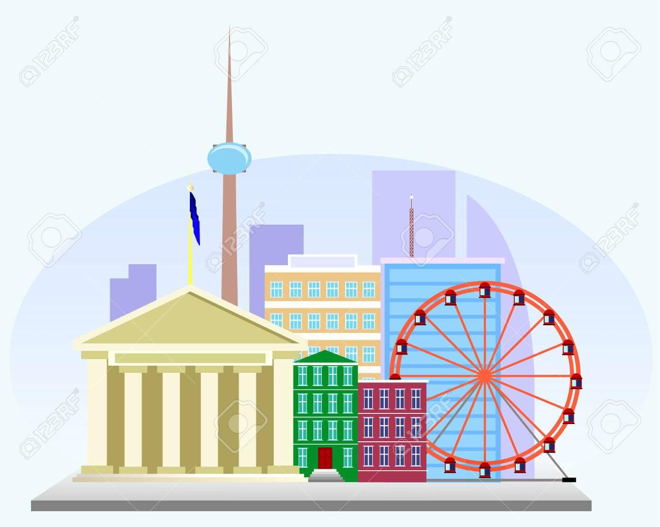 ビジネス センター観覧車やテレビ塔とヨーロッパの都市のイラストの