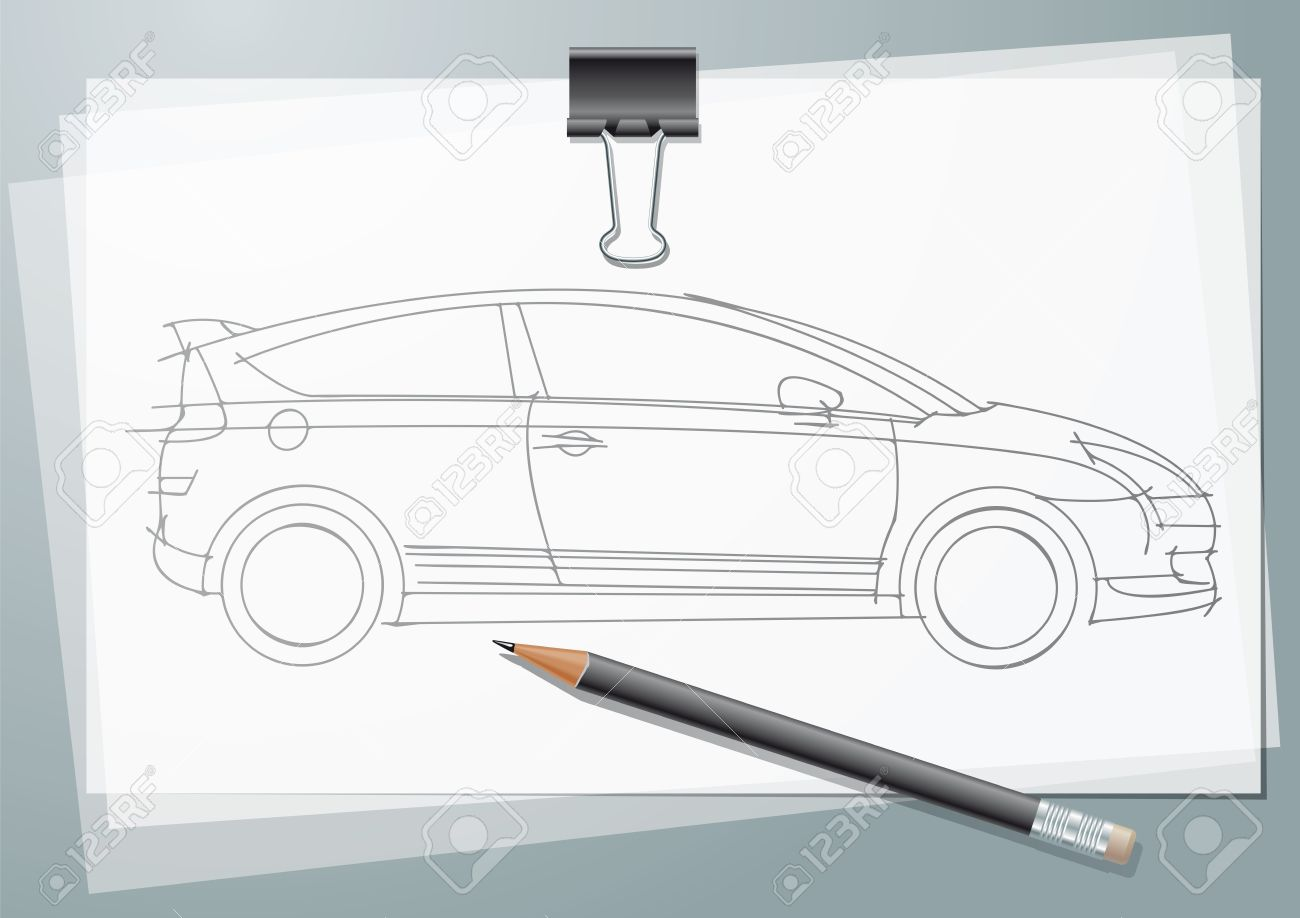 Car sketch project pencil drawing on a calc with paper clip and pancil stock photo