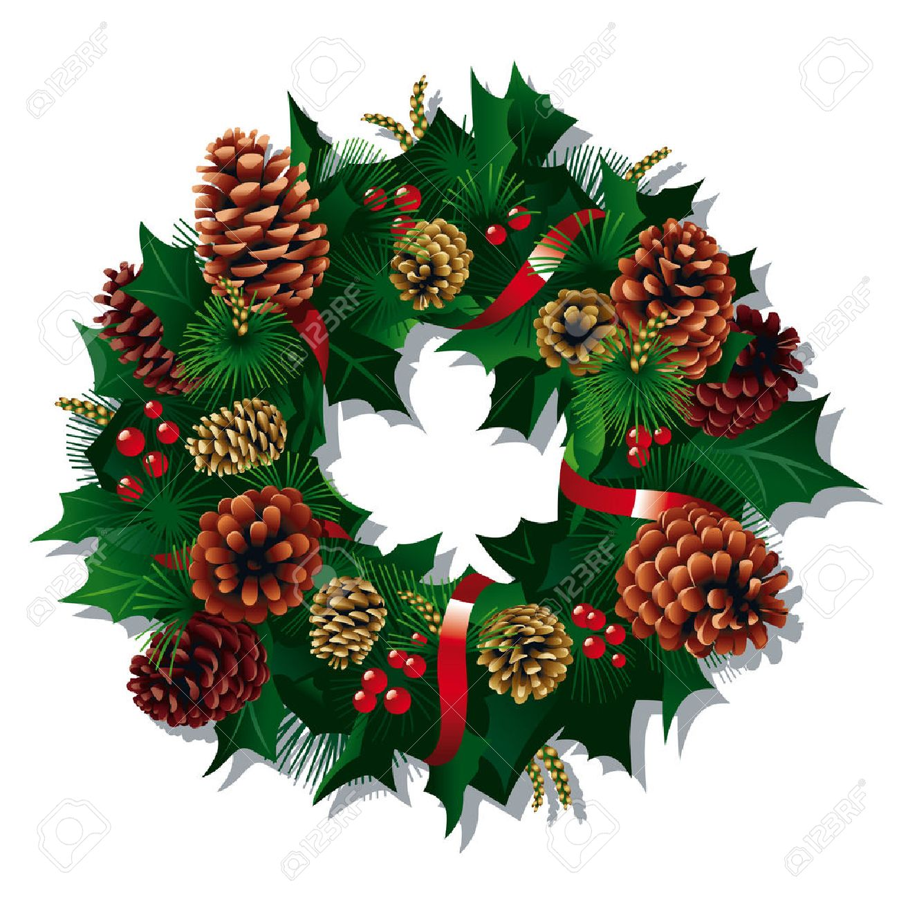 Christmas Wreath with red ribbon and pine cones. Vector Illustration Stock Vector - 8211942