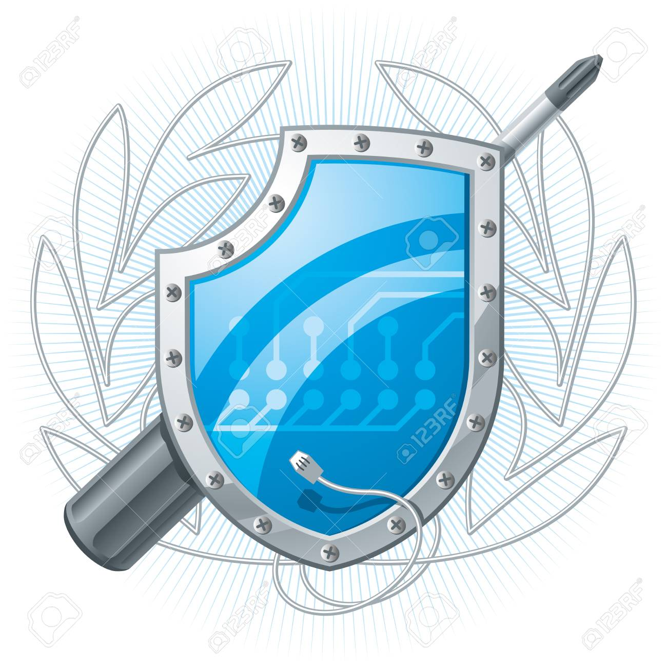 Electronic shield with screwdriver and wire wreath. Vector Illustration Stock Vector - 9327707