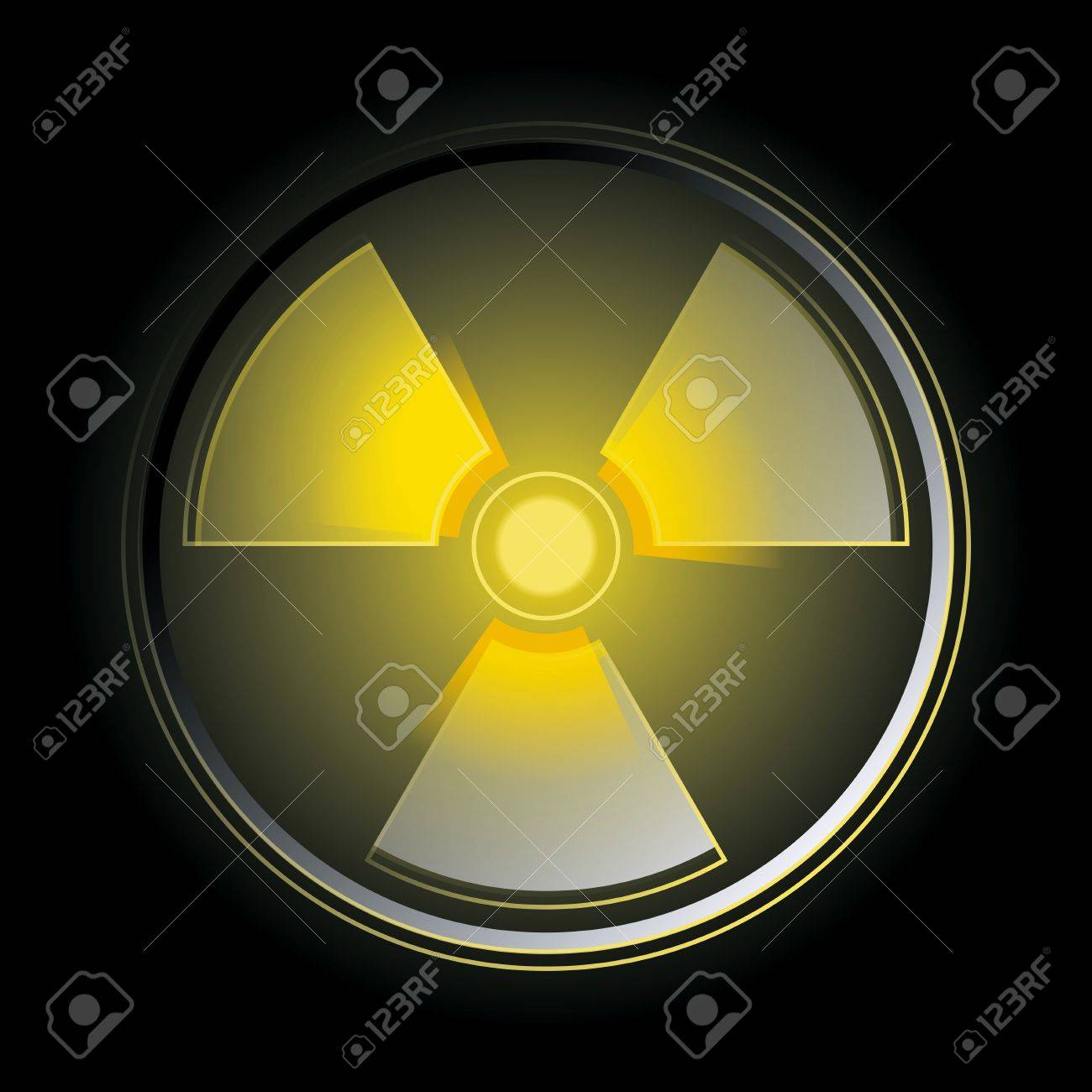 Glowing in the dark radioactive symbol. Vector illustration Stock Vector - 9327729