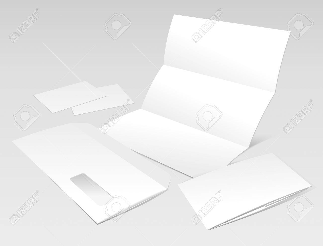 Blank Letter Envelope Business Cards And Booklet Template
