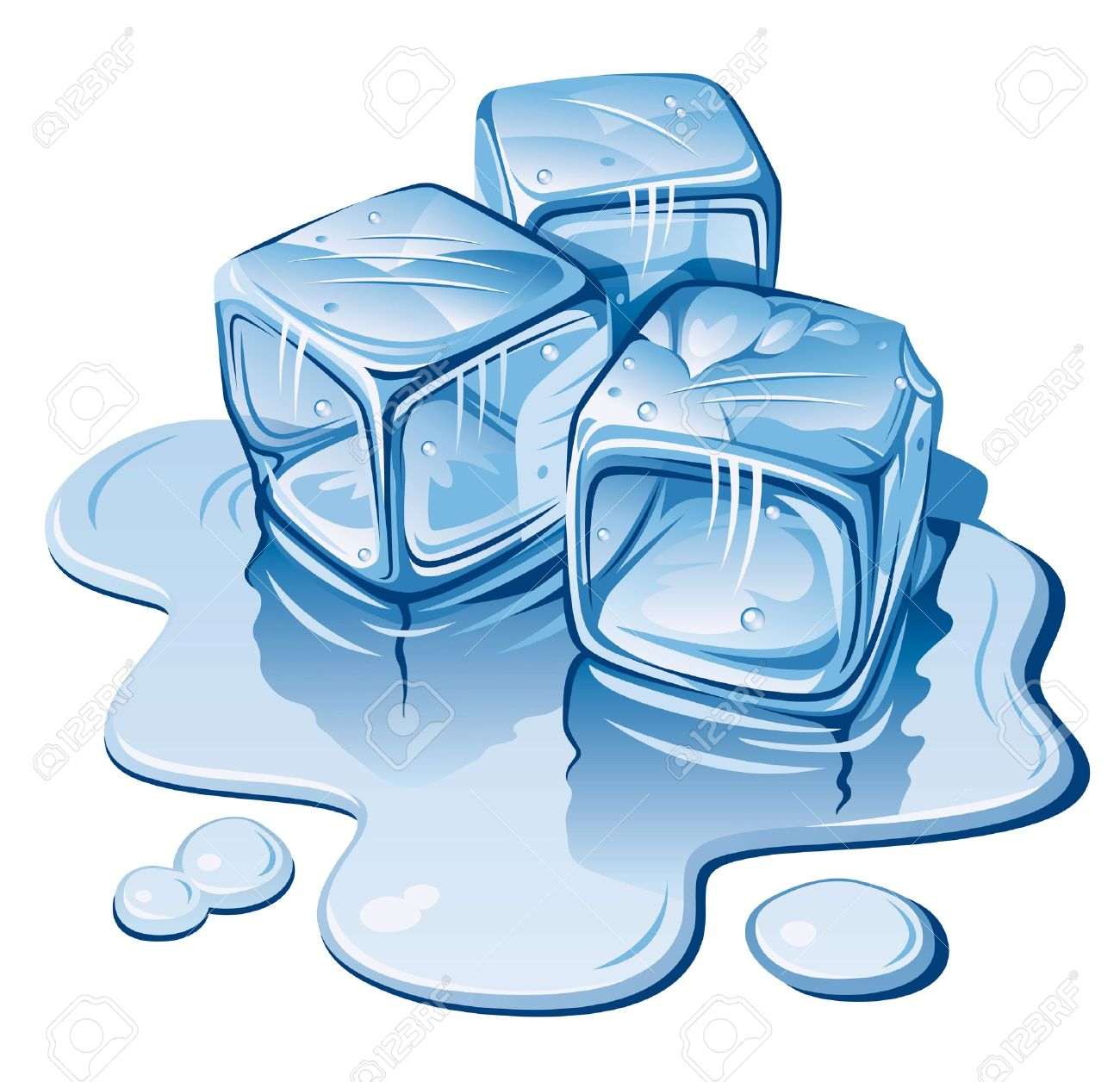 Ice Cubes Drawing Stylized Ice Cubes on White