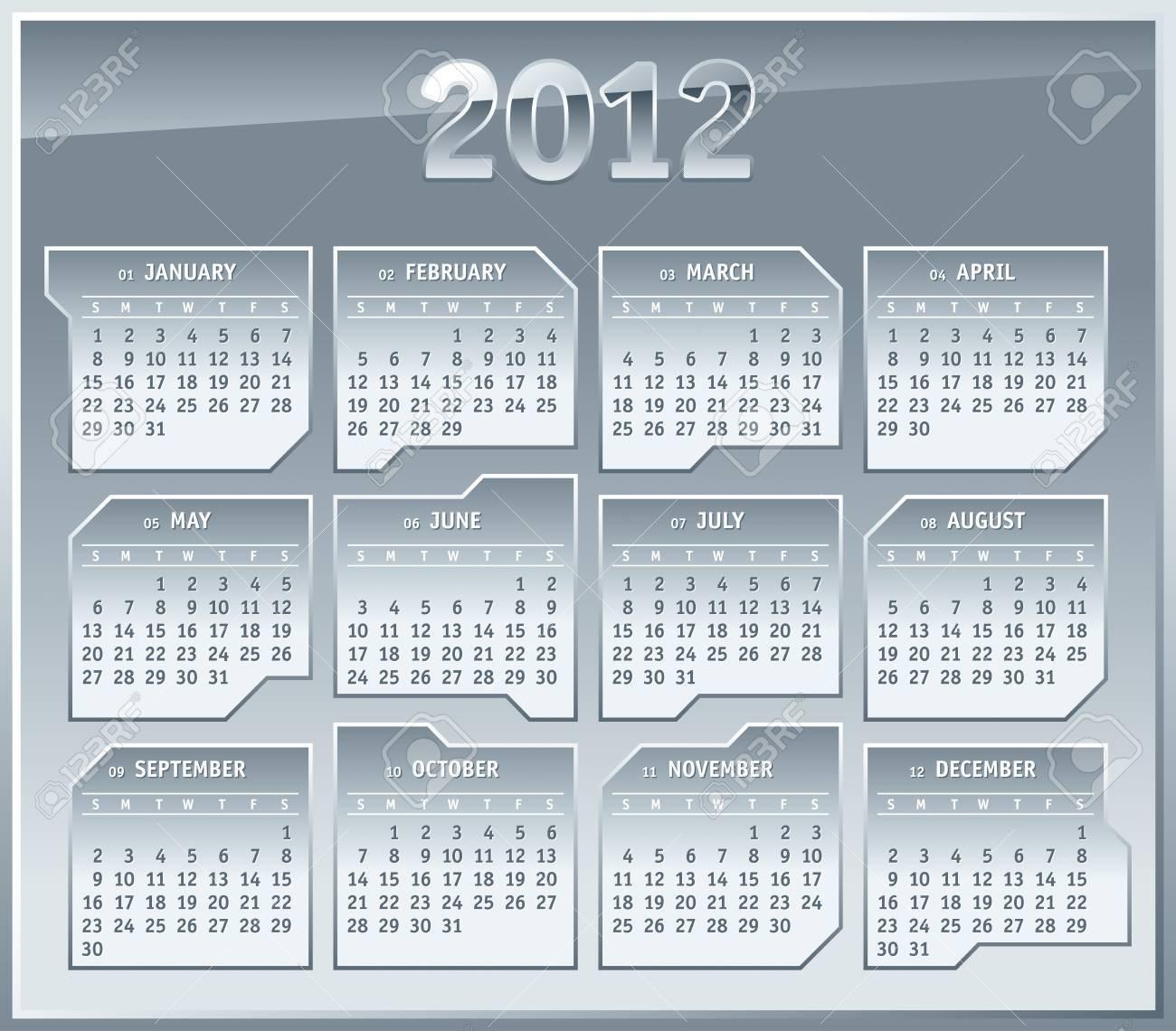 2012 Calendar Grid Template Silver Metallic Plates Design Royalty