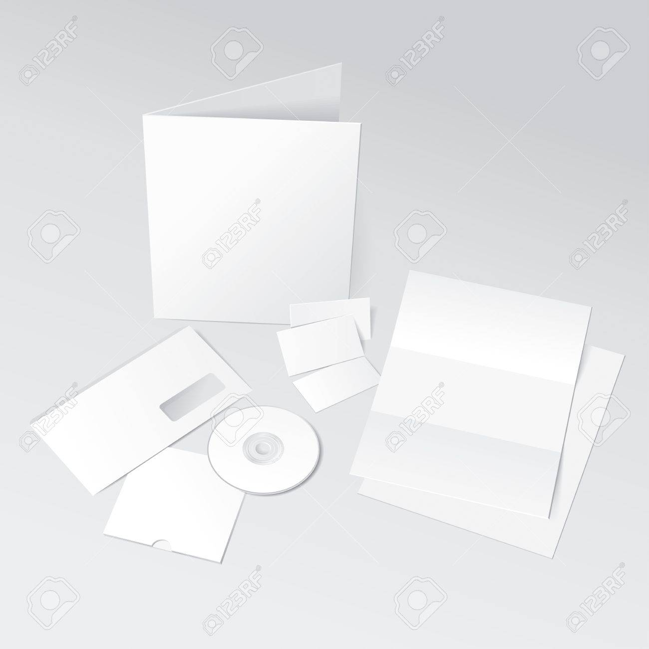 Blank Letter, Envelope, Business cards, CD and Folder template. Vector Illustration Stock Vector - 12171210