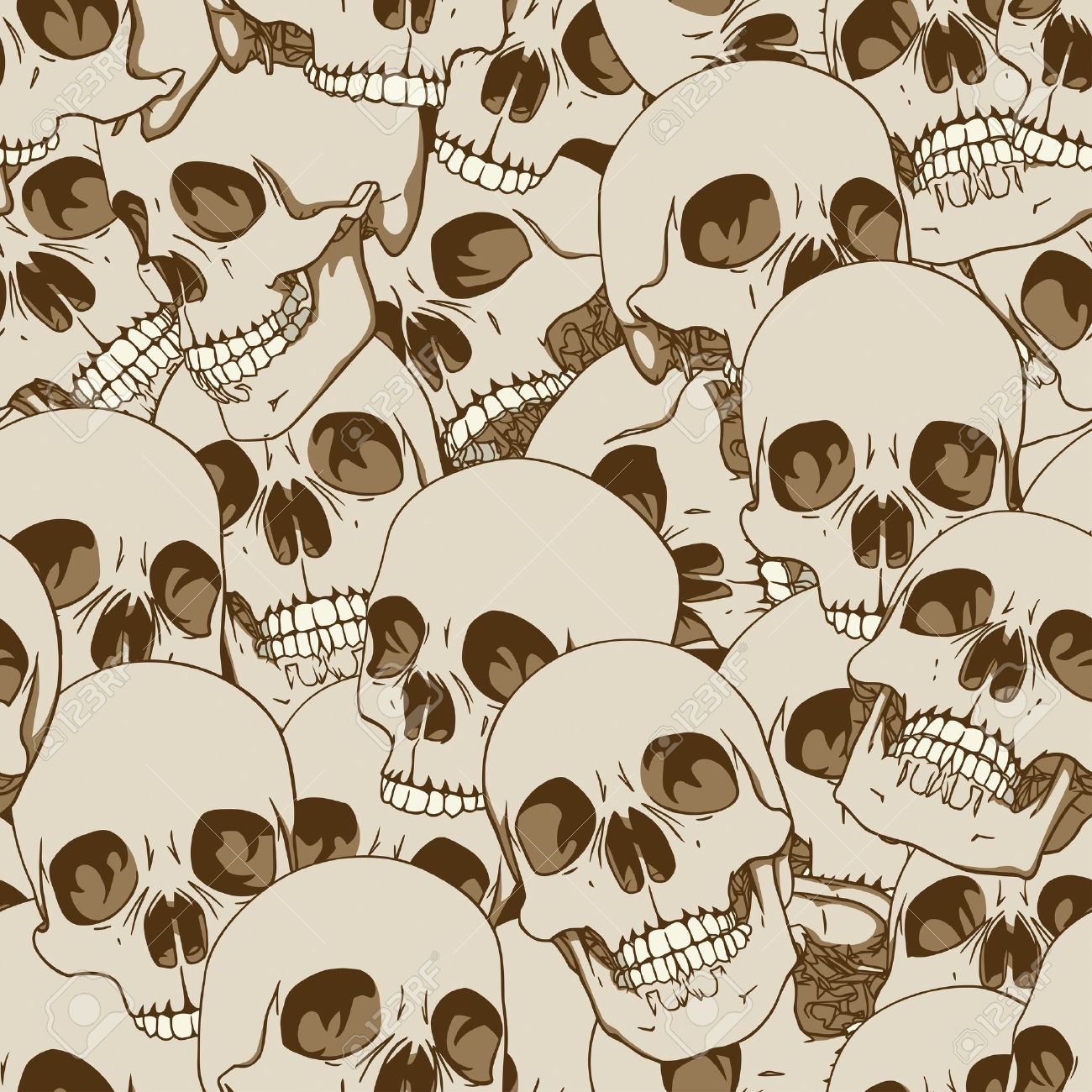 Human skulls seamless background illustration Stock Vector - 12798776