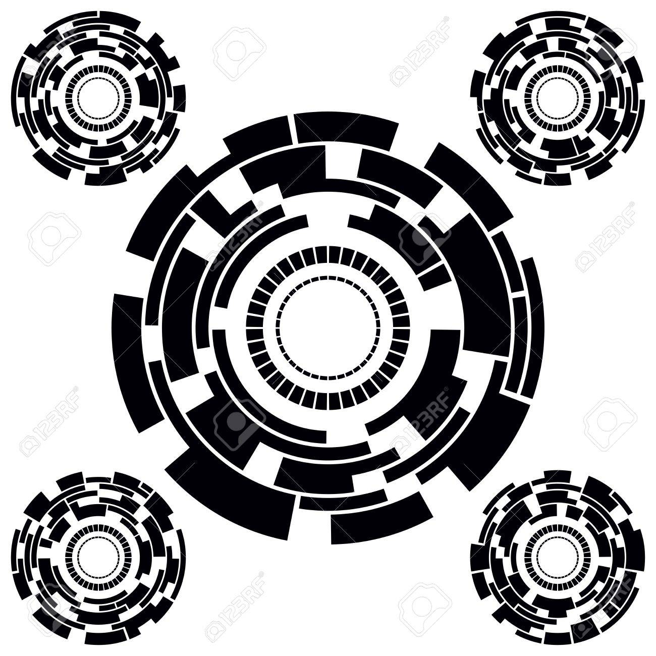 Set of Five Black and White Futuristic Circle Charts. Vector Illustration Stock Vector - 21194150