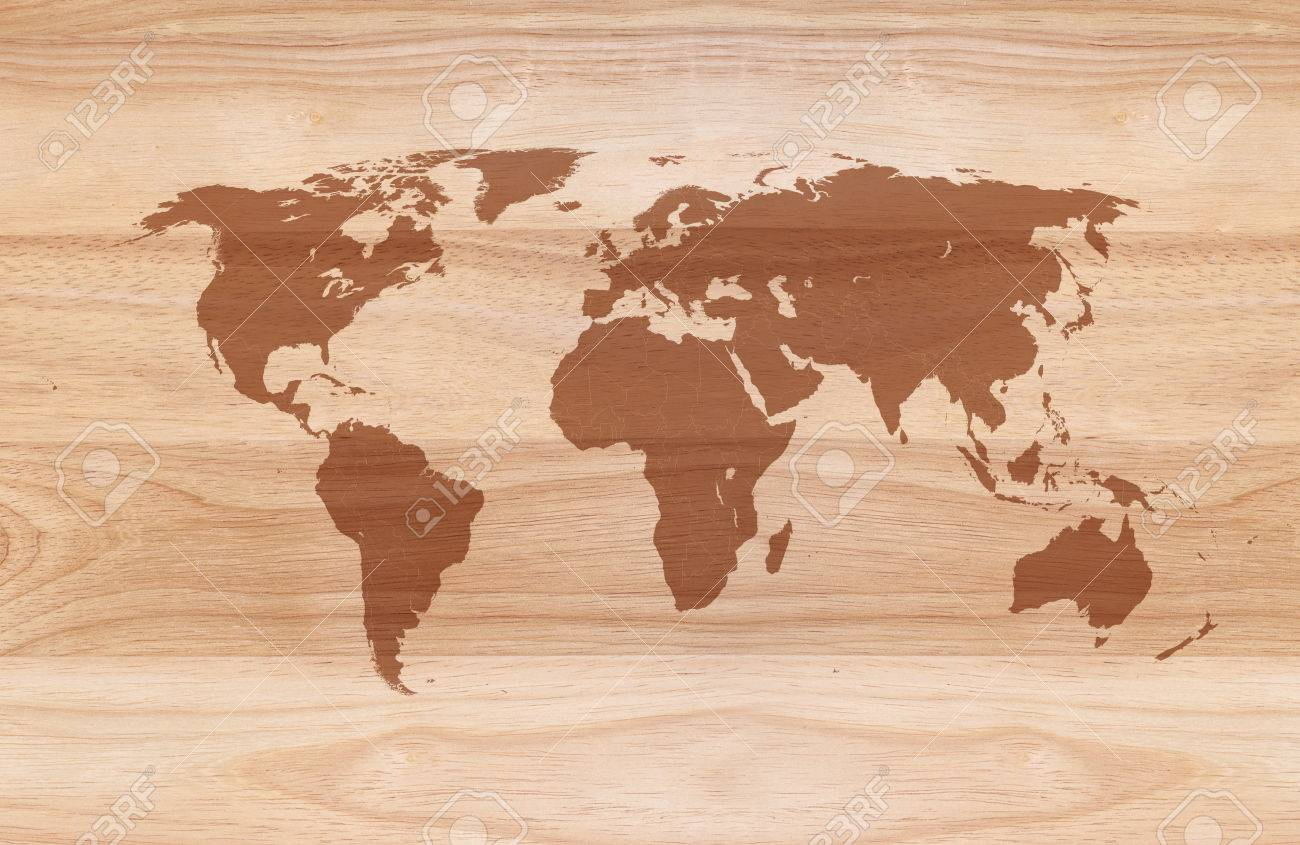 World Map On Wooden Texture Background Stock Photo, Picture And