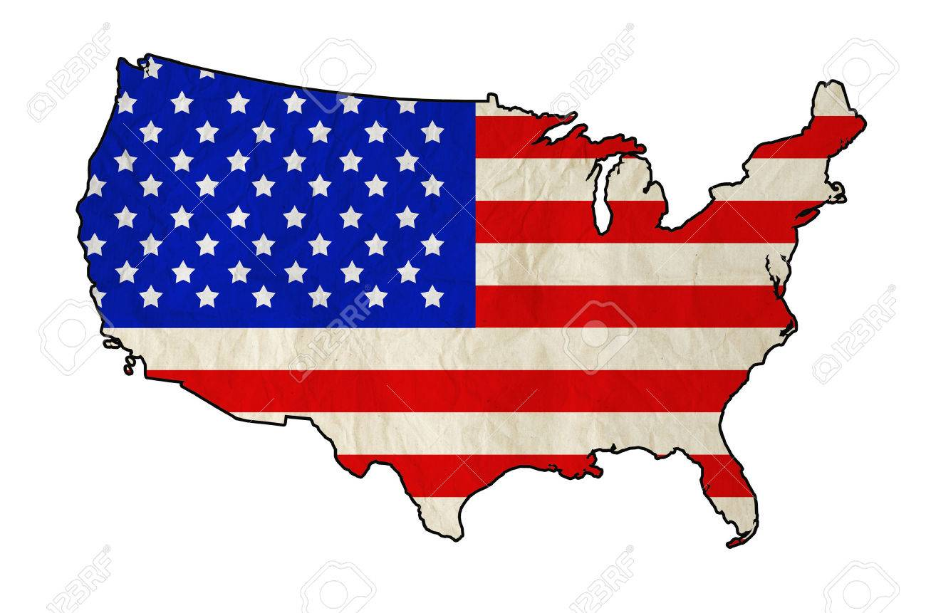 Flag Of United States Of America In USA Map With Old Paper Texture - Us map independence