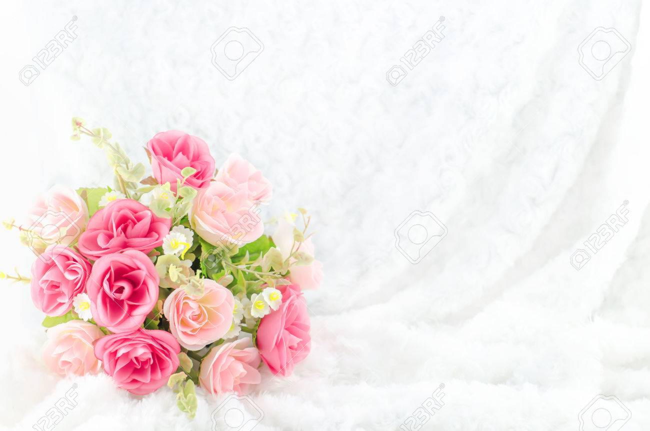 Pastel Coloured Artificial Pink Rose Wedding Bridal Bouquet On