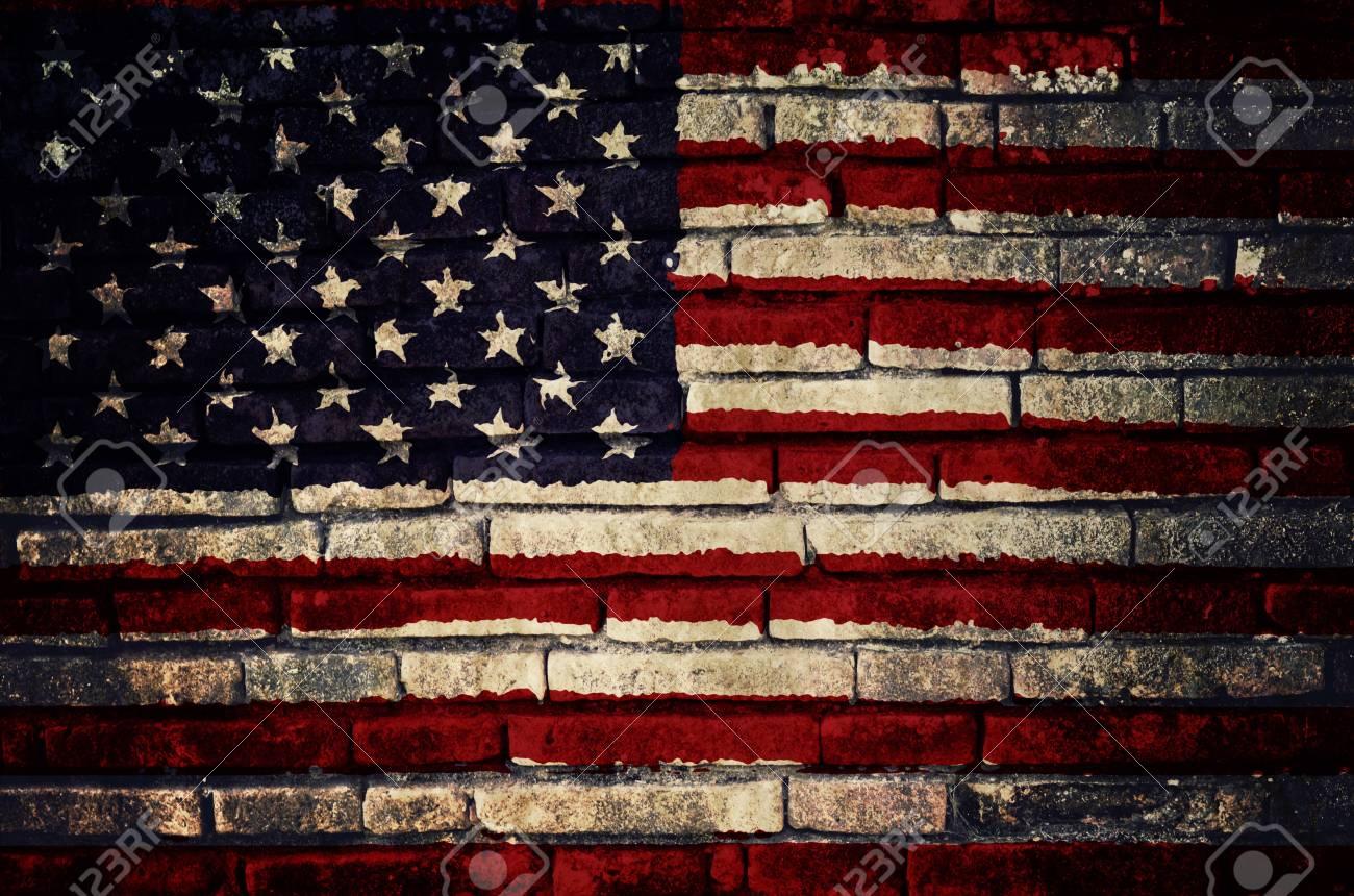 Bandera De Los Estados Unidos De América Pintado En La Pared De ...