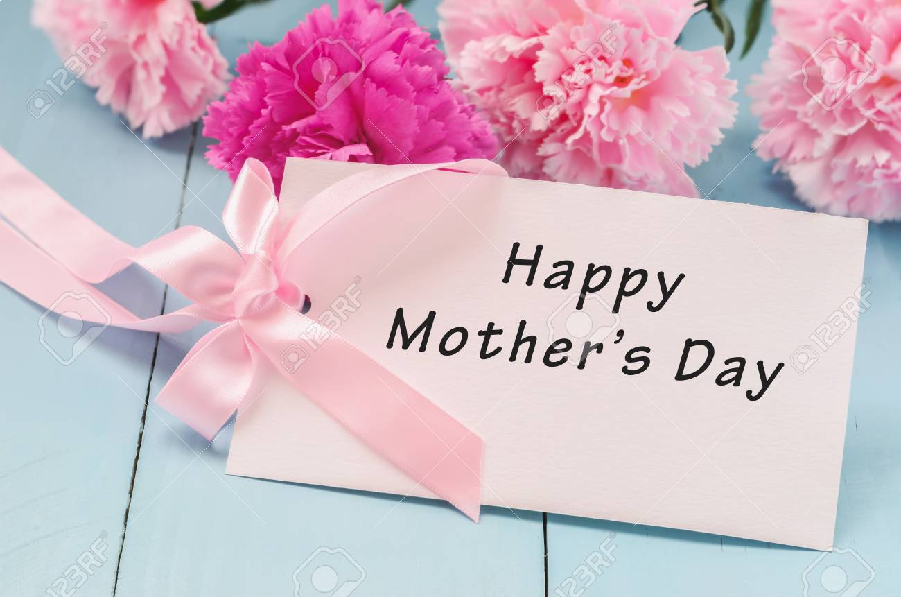 Greeting Card With Pink Ribbon Bow And Happy Mothers Day Message