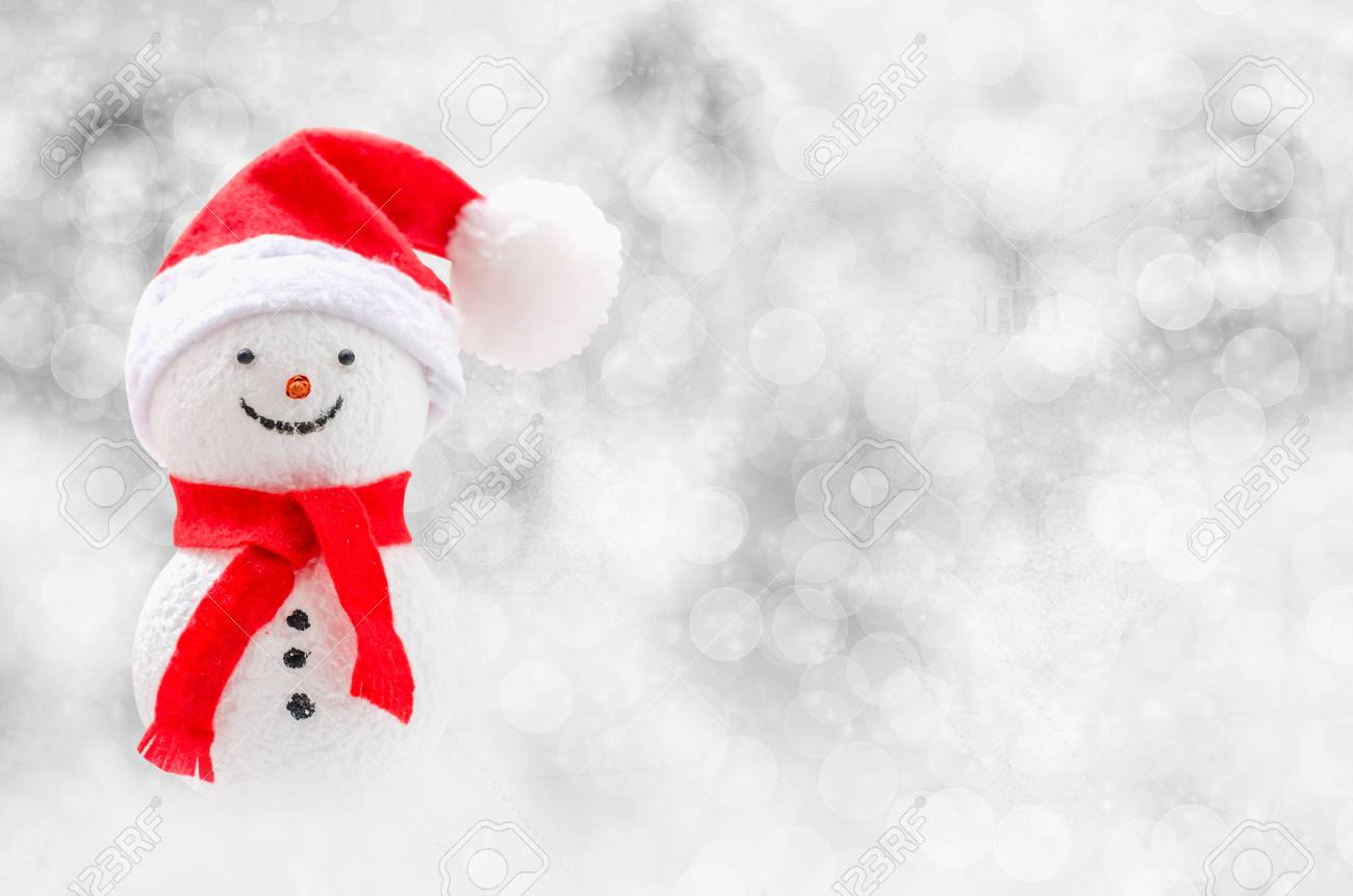 Christmas Background Cute Snowman With Red Scarf And Red Santa