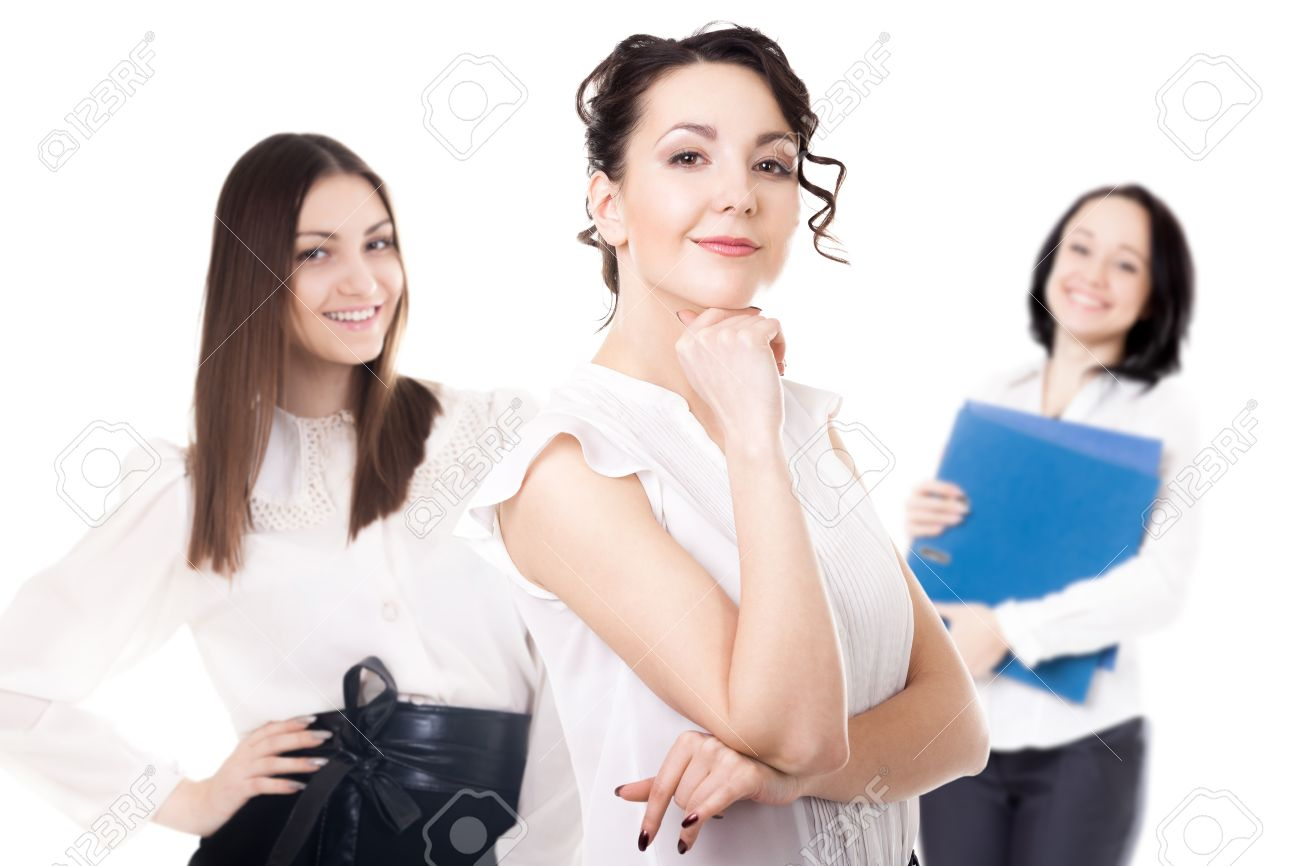 women career getting promoted office staff team of successful stock photo women career getting promoted office staff team of successful confident young females friendly smiling isolated