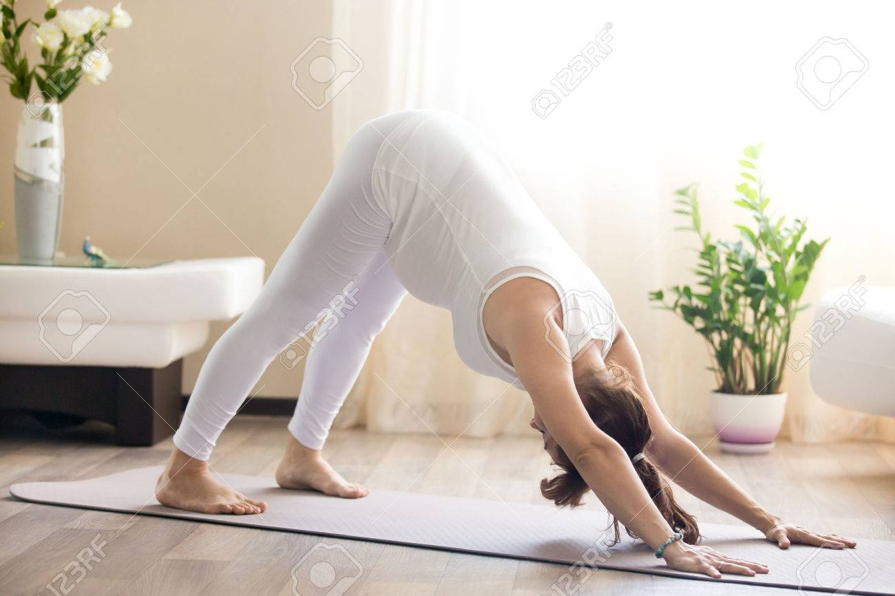 Healthy Pregnancy Yoga And Fitness Concept. Young Pregnant Yoga ...