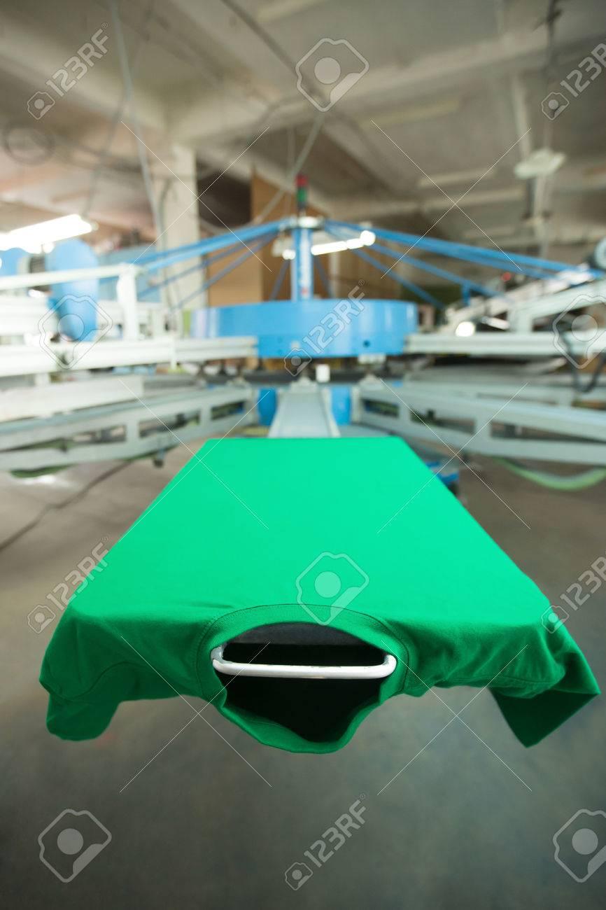 Green T Shirt Silk Screen Printing Machine Look Of The Mock Stock