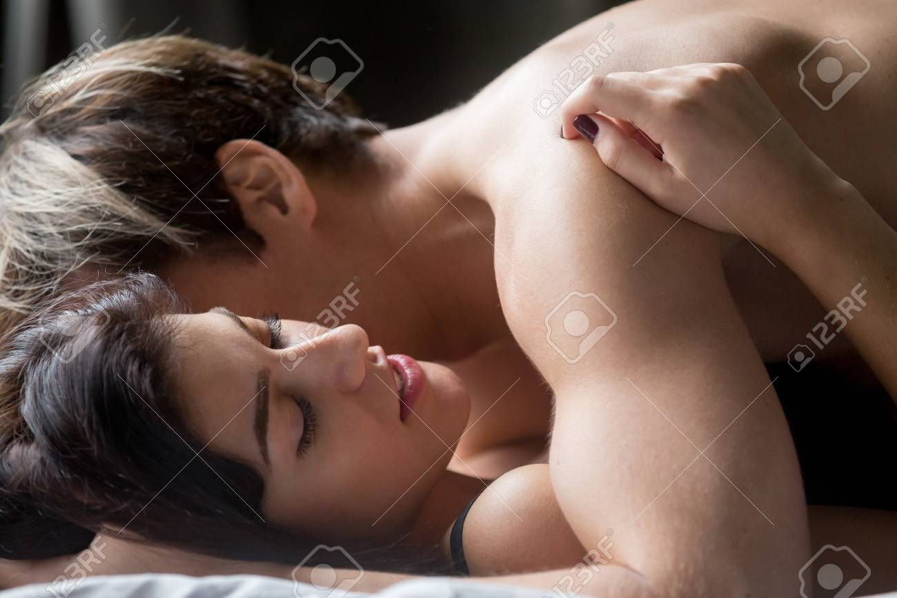 Sensual couple having sex making love, aroused beautiful hot..