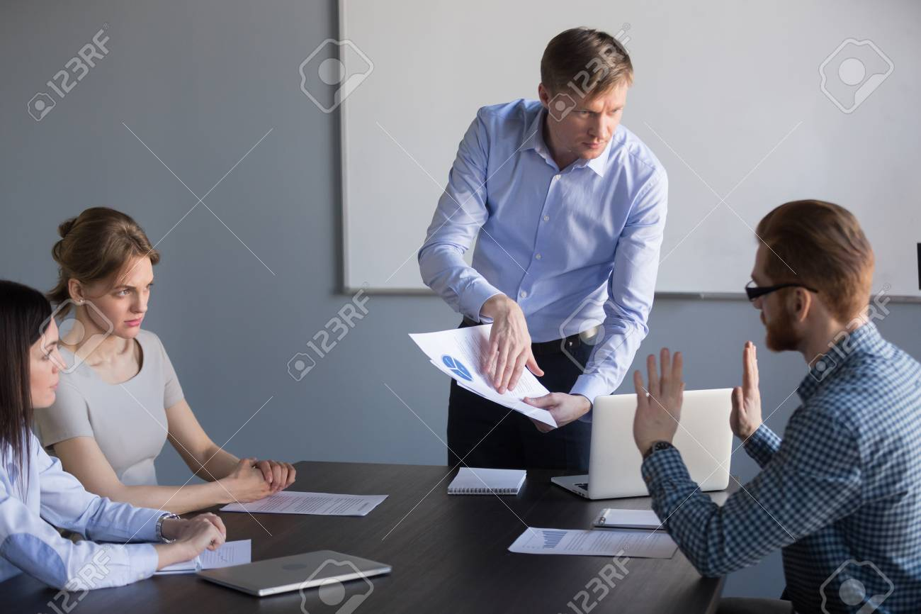 Stressed employee disagreeing with boss blaming for mistake in financial report, dissatisfied ceo team leader arguing with worker about bad work charging fault upon duties failure or demanding result - 109334433
