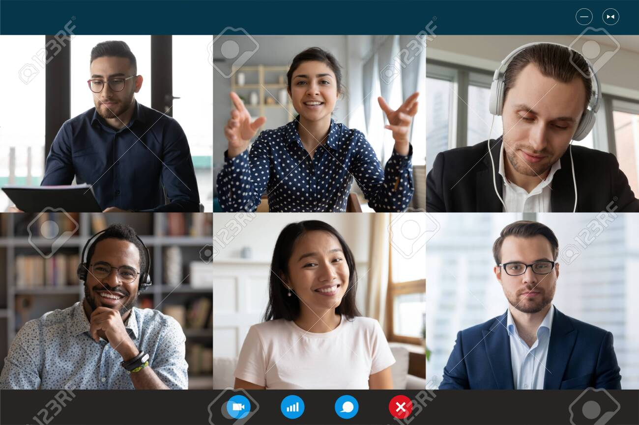 Team working by group video call share ideas brainstorming negotiating use video conference, pc screen view six multi ethnic young people, application advertisement easy and comfortable usage concept - 143927981