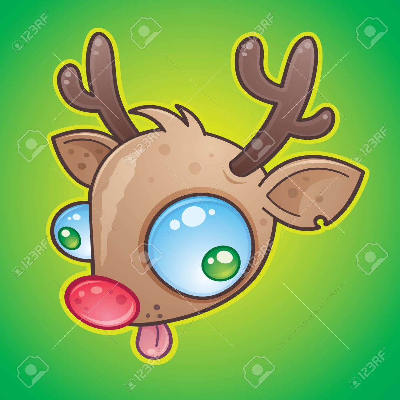 Wacky Rudolph The Red Nosed Reindeer face with bulging eyes sticking out his tongue. drawn in a humorous cartoon style. Stock Vector - 4743871