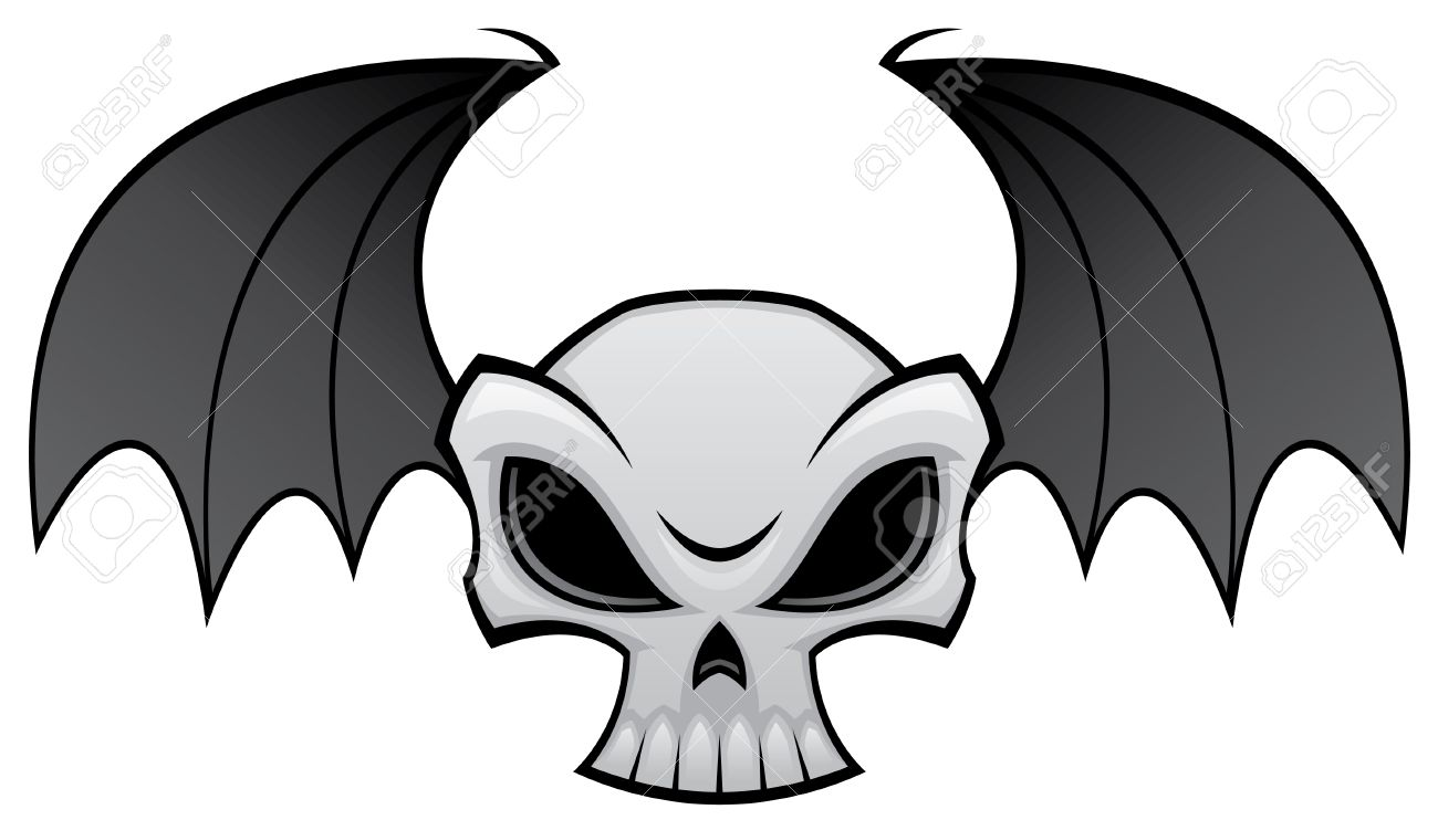 Halloween skull decorations - Vector Illustration Of An Angry Skull With Bat Wings Great For Halloween Decorations Stock