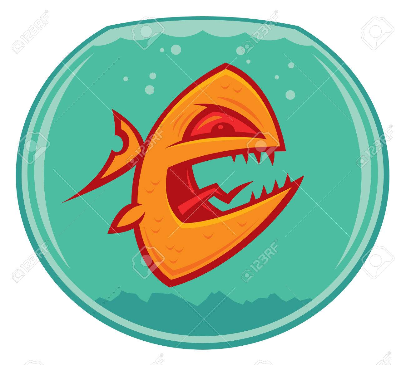 Vector cartoon of an angry and vicious goldfish in a small fishbowl. He could also be a piranha. Stock Vector - 4743821