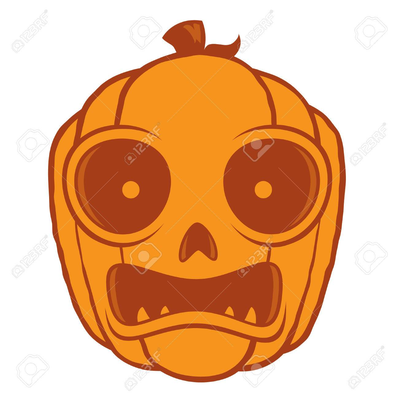 Vector Cartoon Illustration Of A Frightened Jack-O-Lantern Pumpkin ...