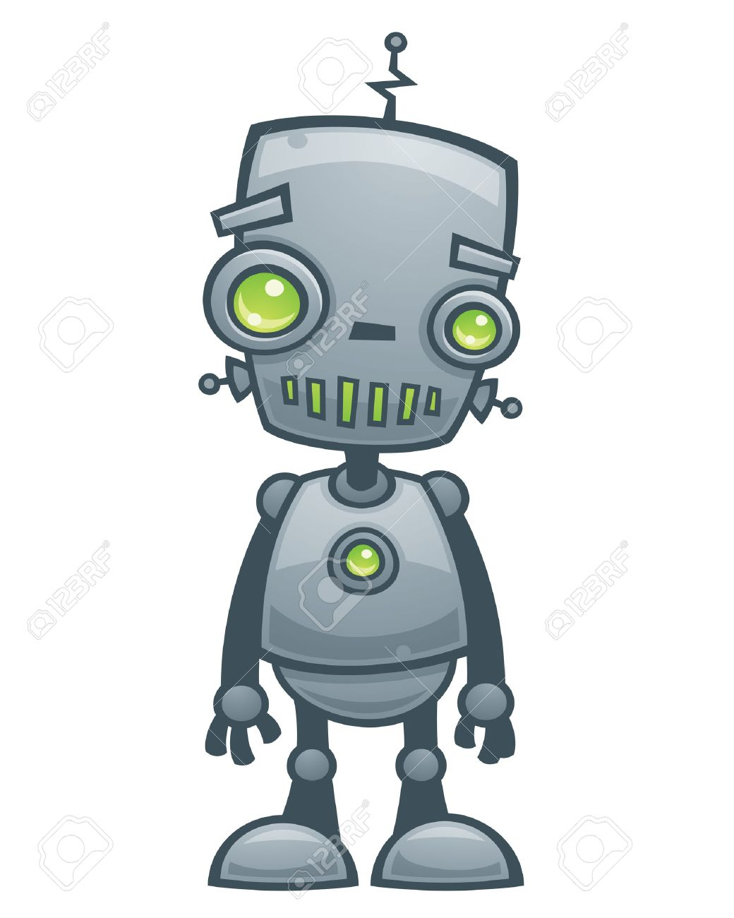 Cartoon vector illustration of a happy little robot with green