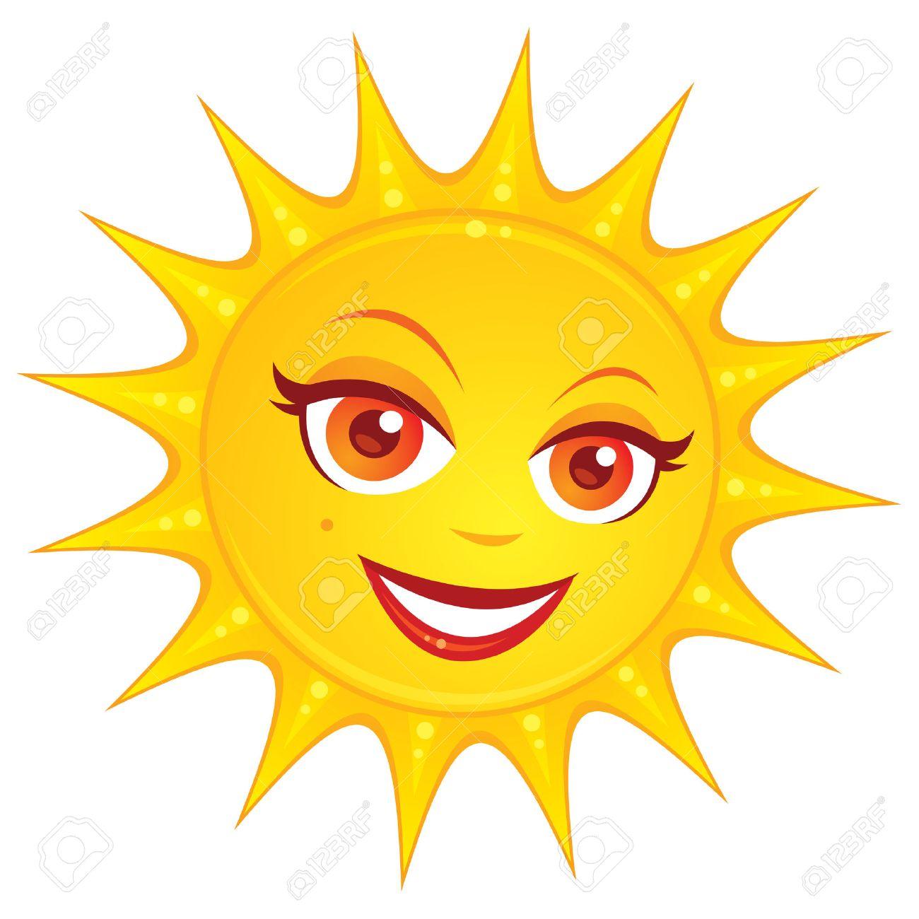 Ilustración de dibujos animados de vectores de un sol sonriente de verano  con una cara muy femenina.