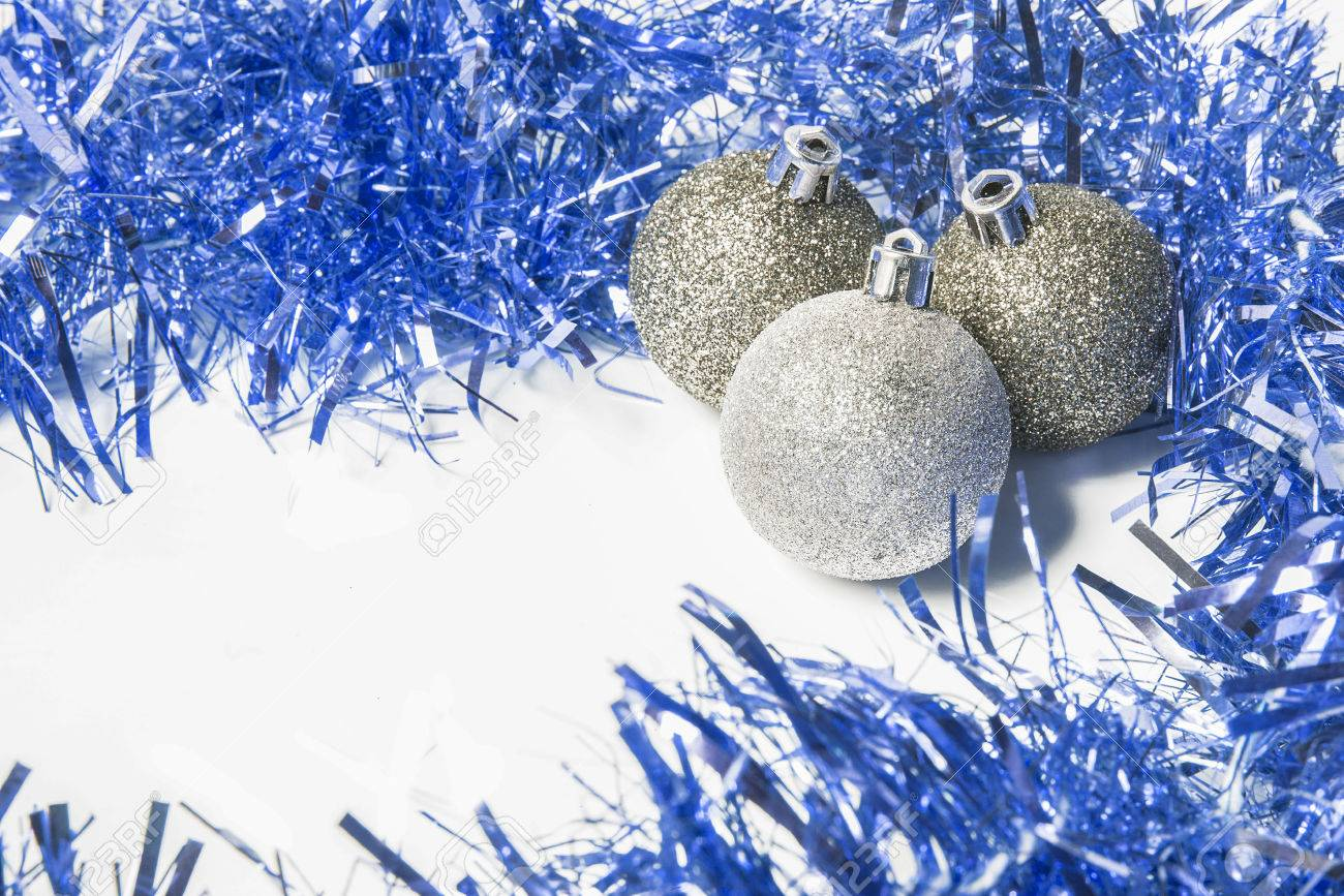 Blue And Silver Christmas Background To Insert Text Stock Photo