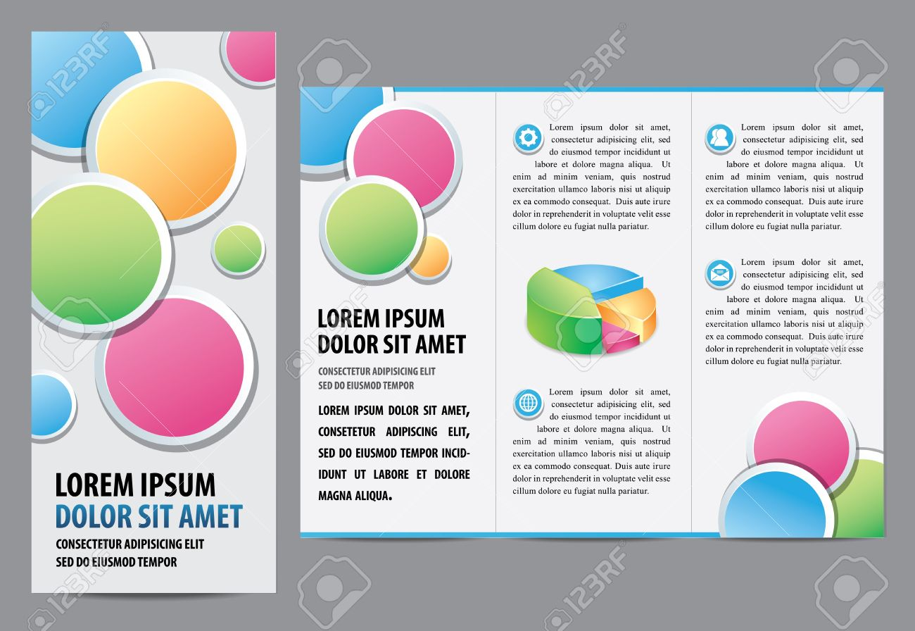 tri fold brochure layout design template illustration layered