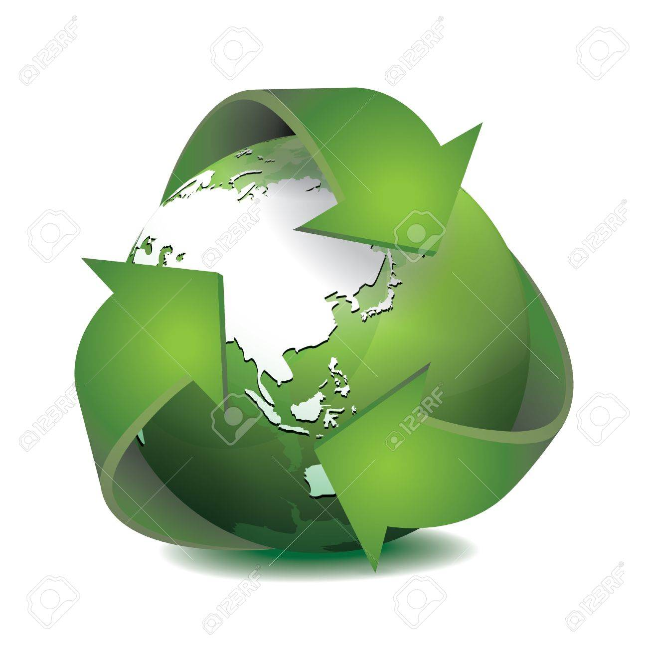 Green Earth With Recycled Symbol Vector Illustration Royalty Free
