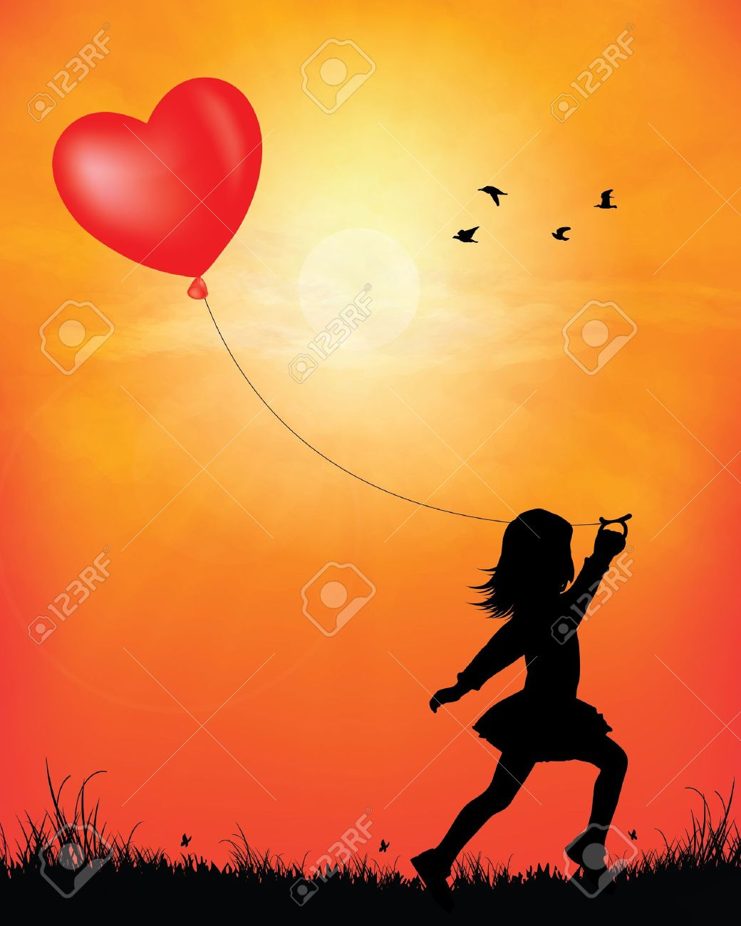 Girl skipping with balloon in sunset background vector illustration Stock Vector - 18732279