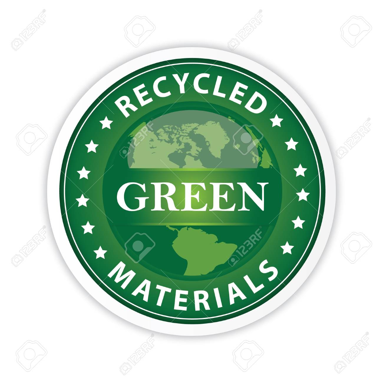 Green Label with a globe illustration Stock Vector - 20402193