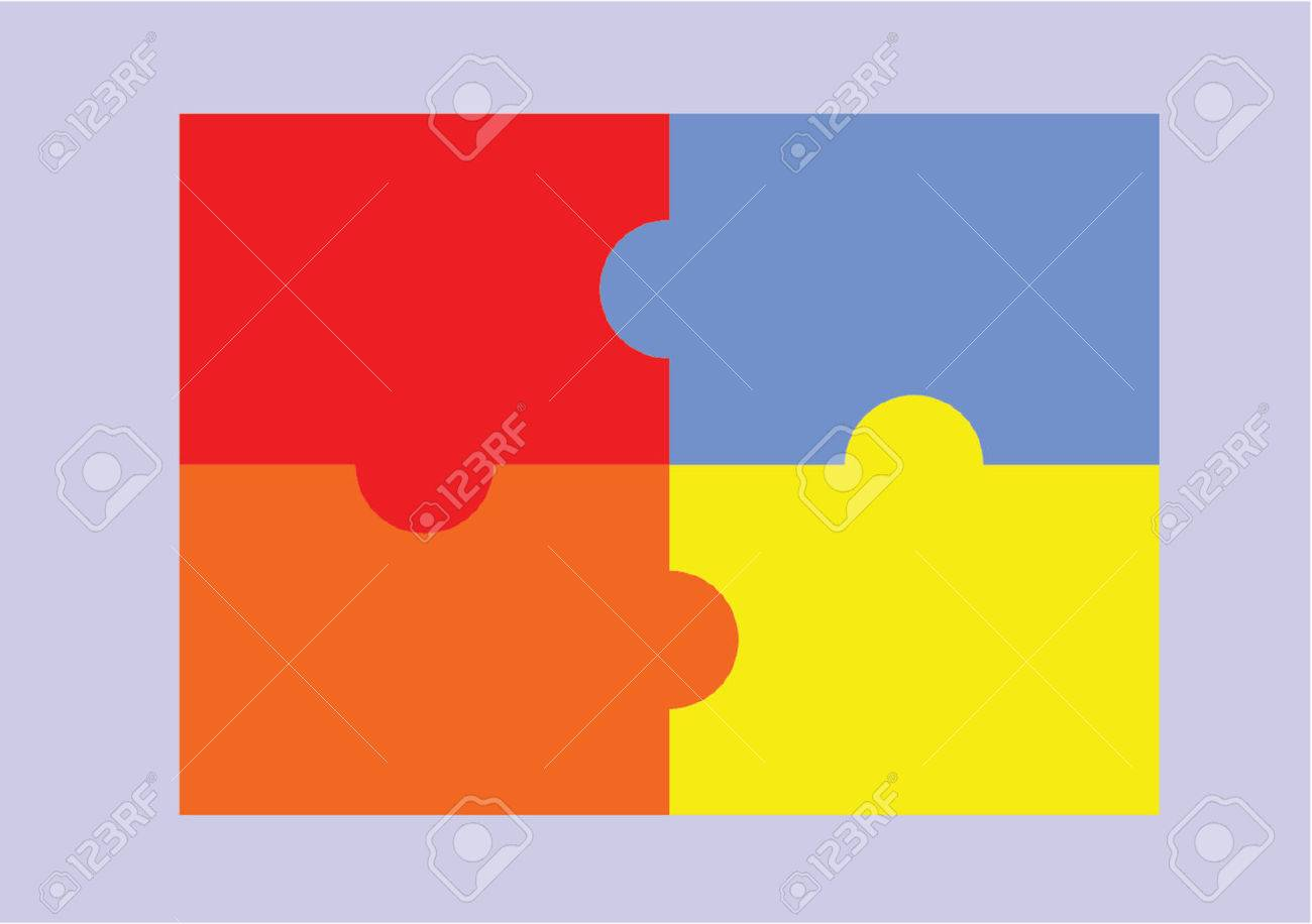 Puzzle 4 Pieces Stock Vector