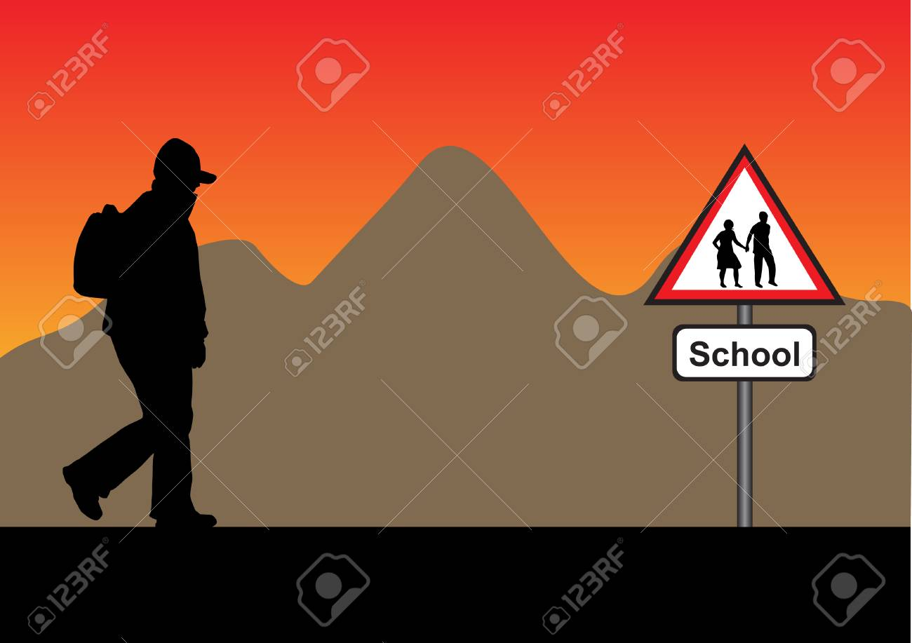 silhouette with backpack with a mountain and a school sign Stock Vector - 5467154