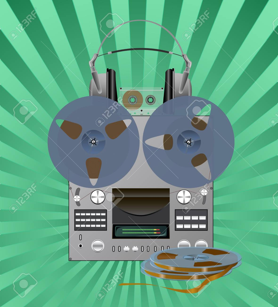 Different recording equipment is shown in the picture. Stock Vector - 8873295