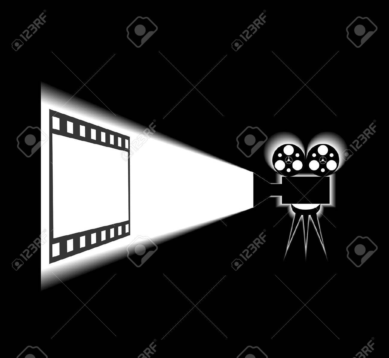 Movie projector and screen are shown in the picture. Stock Vector - 9050913