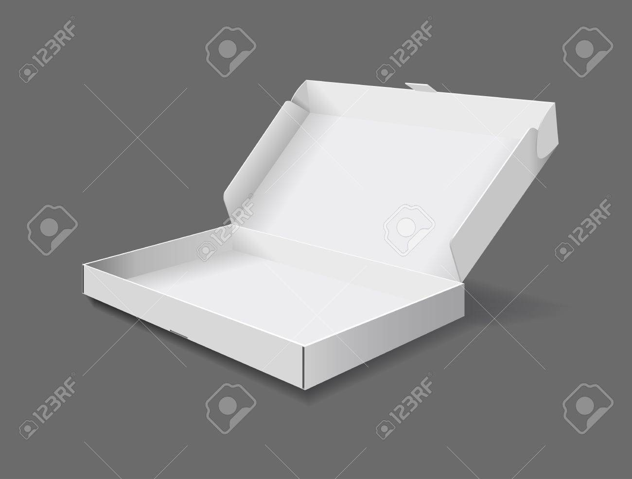The packaging box on grey background is shown in the picture. Stock Vector - 9275069