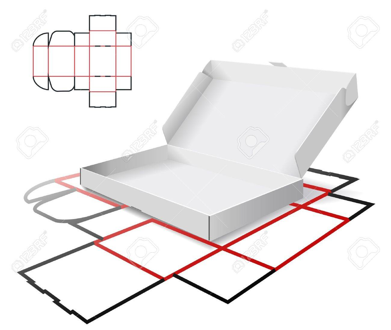 The carton and cutting scheme is shown in the picture. Stock Vector - 9275068