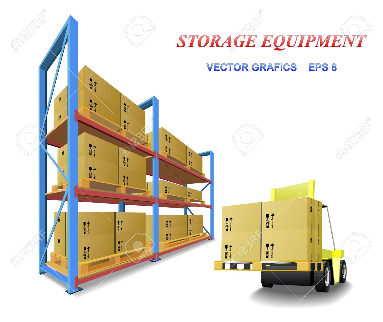 Racks, trays, boxes and forklifts in the warehouse are shown in the picture. Stock Vector - 9321233