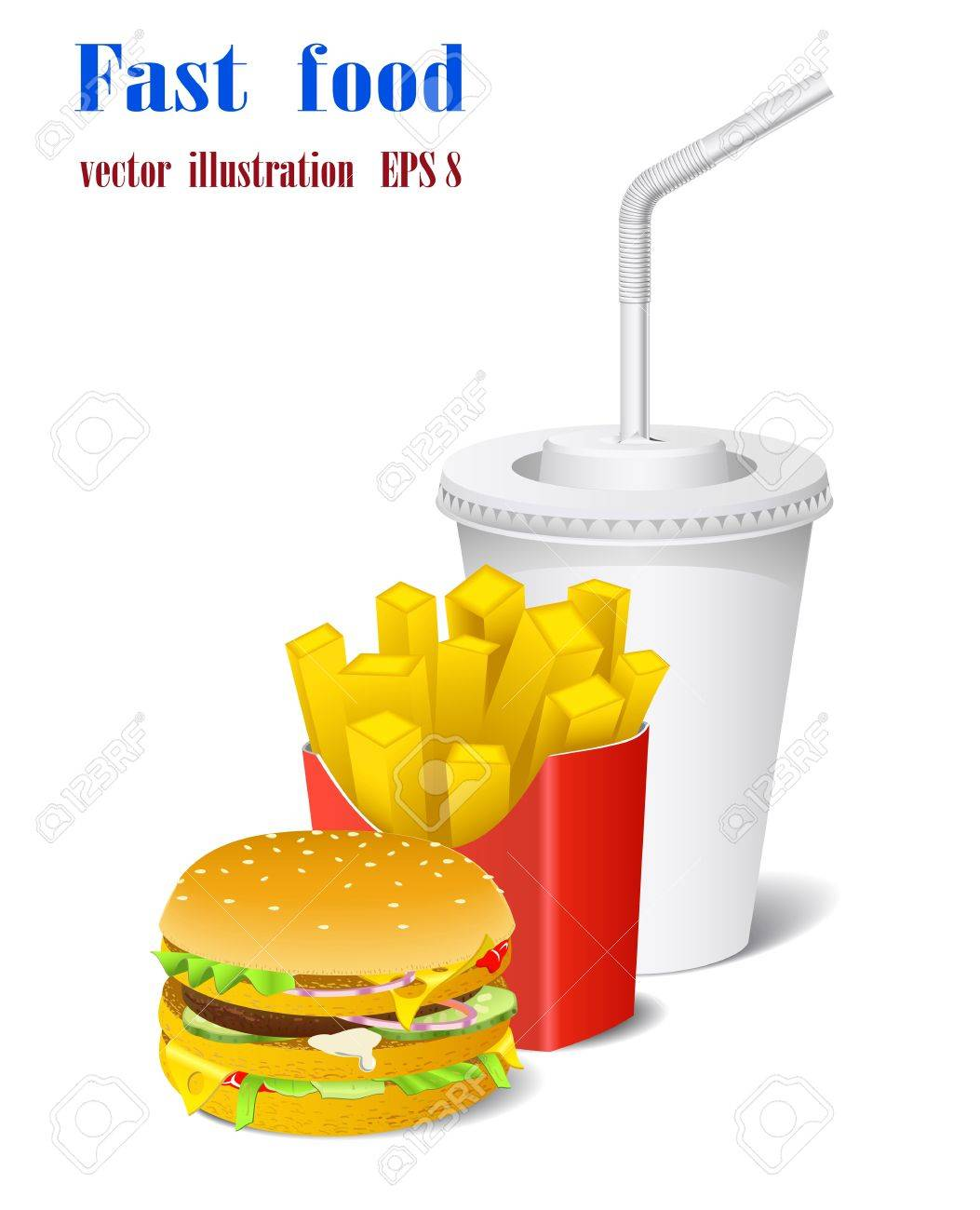 Sandwich, potato and a cup are shown in the picture Stock Vector - 9390103