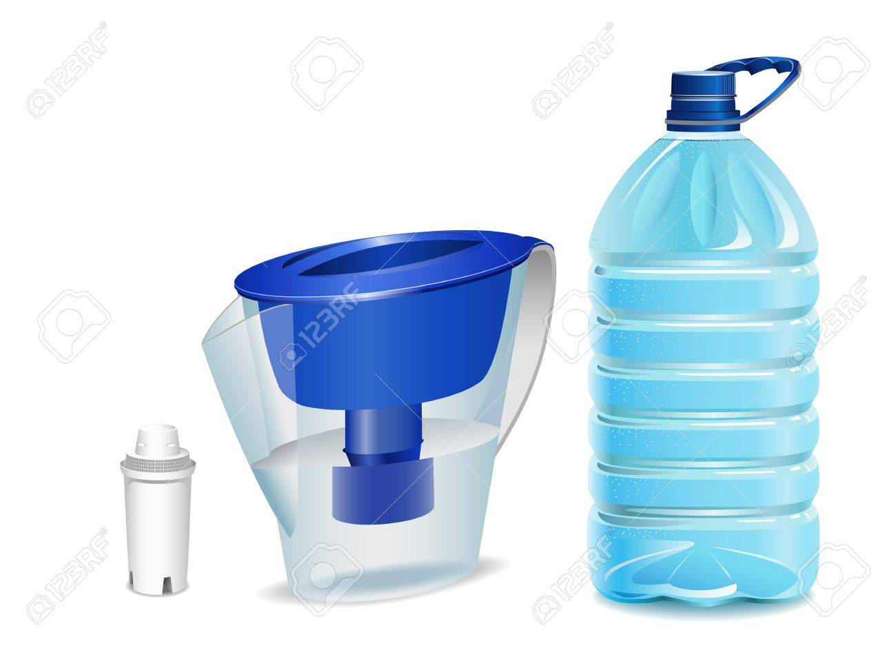 Water filter, filter cartridge and a bottle of water are shown in the picture. Stock Vector - 9445993