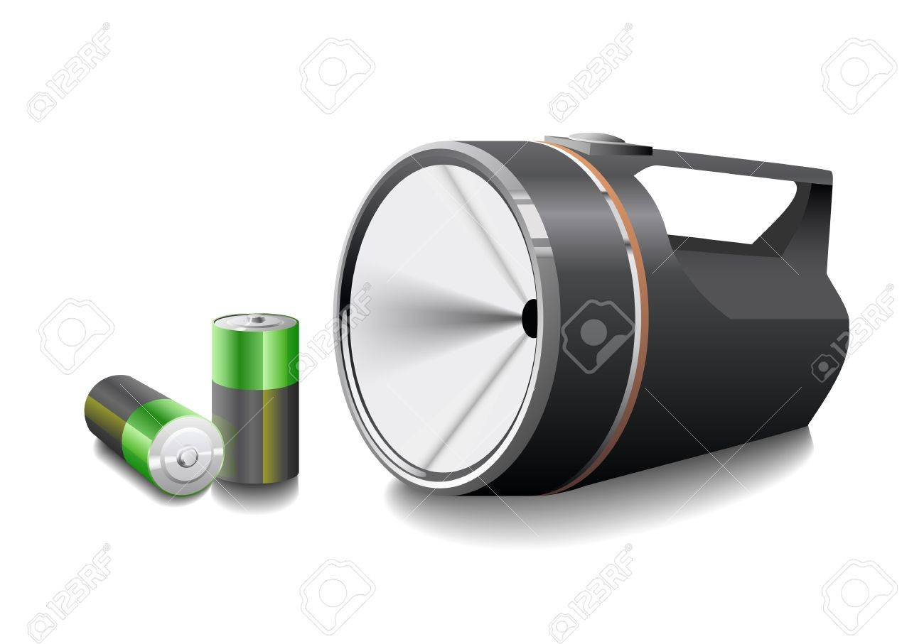 Flashlight with batteries is shown in the picture. - 9655793
