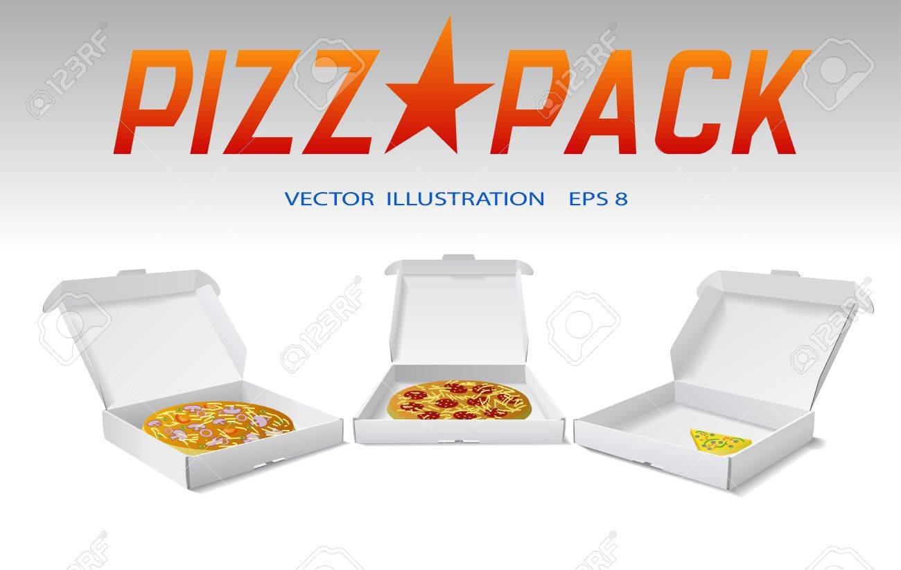 Packaging boxes of pizza are shown on the image. - 9932021