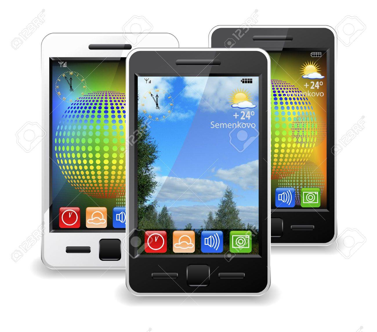 Modern mobile phones are shown in the image. - 11056941